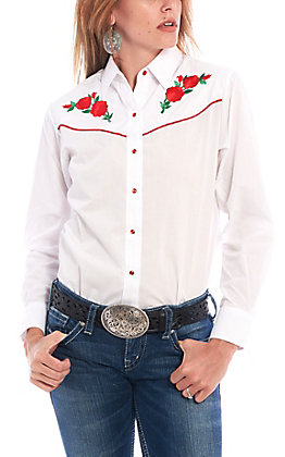 Ely Country Charmers Women's White Retro Rose Embroidered Long Sleeve Western Shirt