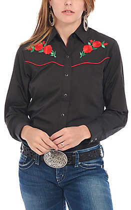 Ely Country Charmers Women's Black Retro Rose Embroidered Long Sleeve Western Shirt
