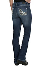 Wired Heart Women's Dark Wash with Tan Floral Design Embroidery, Open Pockets Boot Cut Jeans