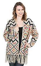 Montana Clothing Company Women's Cream and Black with Neon Accents Diamond Print Long Sleeve Cardigan