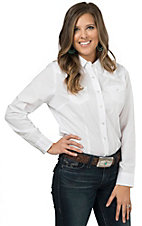 Cumberland Outfitters Women's White Pearl Snap Long Sleeve Western Shirt