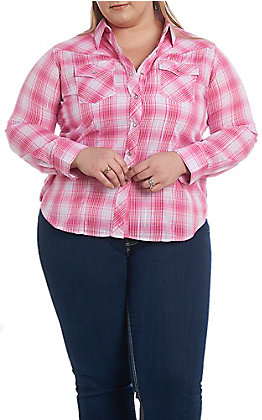 Ely Cattleman Women's Pink Lurex Plaid Western Snap Shirt - Plus Size