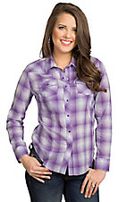 Cumberland Outfitters Women's Purple Ombre Plaid with Rhinestones L/S Western Shirt- Plus Sizes