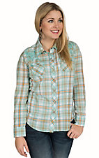 Cumberland Outfitters Women's Turquoise Plaid with Heavy Stitch Long Sleeve Western Shirt