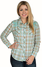 Cumberland Outfitters Women's Turquoise Plaid with Heavy Stitch Long Sleeve Western Shirt - Plus Sizes
