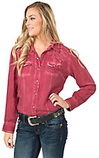 Cumberland Outfitters Women's Washed Burgundy with Embroidery Long Sleeve Western Shirt