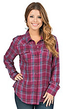 Cumberland Outfitters Women's Burgundy Plaid Long Sleeve Western Shirt