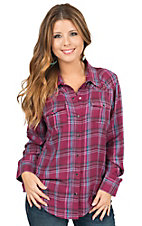 Cumberland Outfitters Women's Burgundy Plaid Long Sleeve Western Shirt- Plus Sizes
