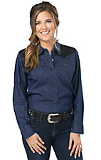 Cumberland Outfitters Women's Dark Denim with Black Lace Yokes Long Sleeves Western Shirt