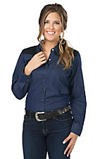 Cumberland Outfitters Women's Dark Denim with Black Lace Yokes Long Sleeves Western Shirt - Plus Sizes