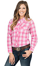 Cumberland Outfitters Women's Pink & Blue Lurex Plaid Long Sleeve Western Shirt- Plus Sizes