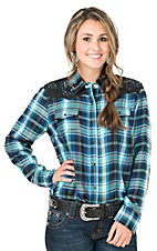 Cumberland Outfitters Women's Blue & Turquoise Plaid Long Sleeve Western Shirt