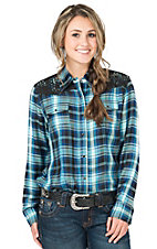 Cumberland Outfitters Women's Blue & Turquoise Plaid Long Sleeve Western Shirt- Plus Sizes
