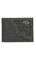 Hooey Men's Grey with Grey Pinstripe Fabric Inlay Bi-Fold Wallet