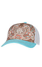 Ariat Women's Blue Paisley Print Logo Mesh Back Cap