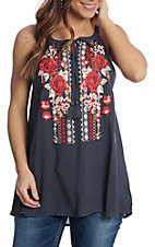 April Sky Women's Charcoal Floral Embroidered Halter Fashion Shirt