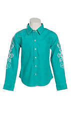 Cumberland Outfitters Girl's Turquoise with Scrolling Long Sleeve Western Shirt