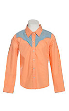 Cumberland Outfitters Girl's Orange Melon with Denim Yokes Long Sleeve Western Shirt