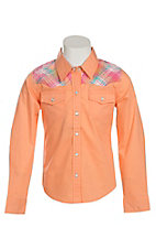 Cumberland Outfitters Girl's Melon Orange with Plaid Yokes Long Sleeve Western Shirt