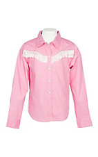 Cumberland Outfitters Girls Pink with White Fringe Western Snap Shirt