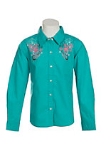 Cumberland Outfitters Girl's Turquoise with Screen Print Crosses Long Sleeve Western Shirt