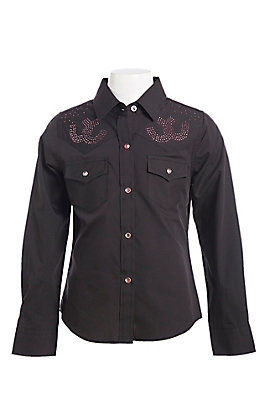 Ely & Walker Cumberland Outfitters Girls Black Rhinestone Western Shirt