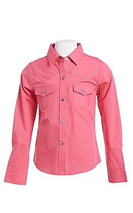 Ely & Walker Cumberland Outfitters Girls Fuchsia Rhinestone Horse Western Shirt