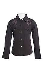 Ely & Walker Cumberland Outfitters Girls Black with Pink Rhinestone Horse Western Shirt