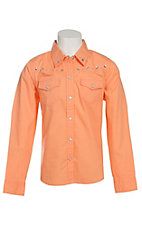 Cumberland Outfitters Girl's Orange Melon with Stars Long Sleeve Western Shirt