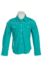 Cumberland Outfitters Girl's Turquoise with Stars Long Sleeve Western Shirt