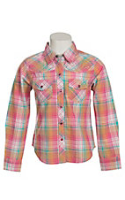 Cumerland Outfitters Girl's Pink Multicolor Plaid with Rhinestones Long Sleeve Western Shirt