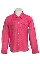 Cumberland Outfitters Girl's Fuchsia with Lurex Long Sleeve Western Shirt