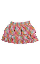 Cumberland Outfitters Girl's Pink Plaid Ruffle Skort
