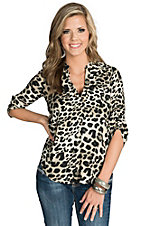 Renee C. Women's Leopard V-Neck Top