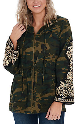 April Sky Women's Camo Embroidered Jacket
