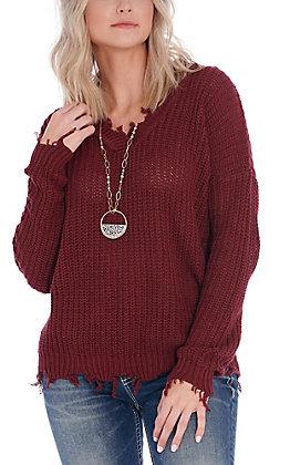 April Sky Women's Burgundy Distressed V-Neck Sweater