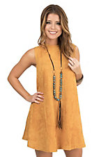 Cowgirl Justice Gold Faux Suede Sleeveless Princess Cut Dress