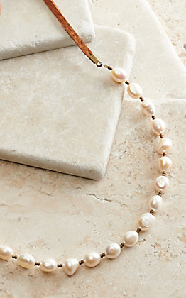 J.Forks Designs Pearl Beaded Brown Leather Wrap Necklace