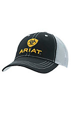 Ariat Black with Silver Mesh Back Logo Snap Back Cap
