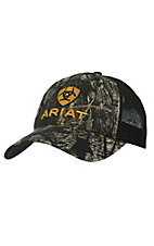 Ariat Camo with Black Mesh Back Logo Snap Back Cap