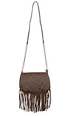 Way West Miley Floral Canvas with Suede Fringe Crossbody Purse 1582500BR