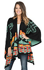 Cowgirl Justice Women's Black, Sage, Gold, and Orange Comanche Print Wrap Poncho