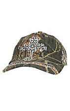 Blazin Roxx Women's Mossy Oak Camo with Rhinestone Cross Cap