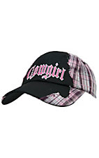 M&F Black Mesh with Pink Plaid & Embroidered Cowgirl Cap
