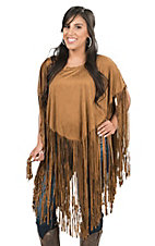Cowgirl Justice Women's Brown Faux Suede with Fringe Poncho