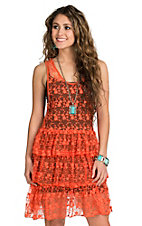 R Cinco Ranch Women's Coral Lace Sleeveless Dress