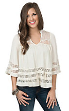 Double Zero Women's Vanilla 3/4 Sleeve Peasant Top