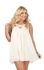 Double Zero Women's Vanilla with Cutouts Sleeveless Dress