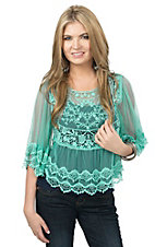 Double Zero Women's Jade Floral Lace 3/4 Sleeve Top