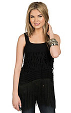 Double Zero Women's Black Crochet with Fringe Sleeveless Tank Fashion Top
